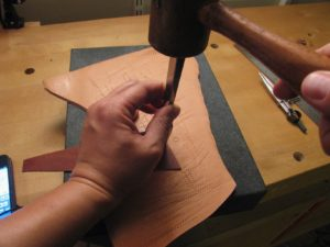 pricking irons hit with mallet